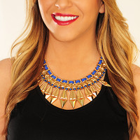 Rock This Town Necklace: Gold/Blue | Hope's
