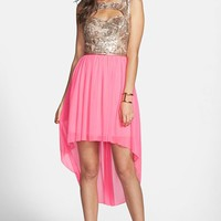 Way-In Cutout Sequin Bodice High/Low Dress (Juniors) (Online Only) | Nordstrom