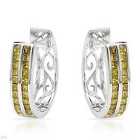 White Gold Earrings with 0.88 CTW Diamonds - 			        	Junior Girls and Boys Apparel & Accessories