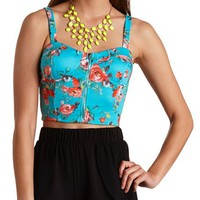 ZIP-UP FLORAL PRINT BUSTIER TOP
