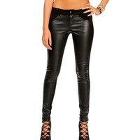 SALE-Black Ponte Faux Leather Skinny Pants