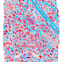Vienna City Map Poster Art Print by Vianina