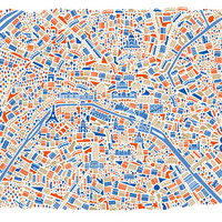 Paris City Map Poster Art Print by Vianina