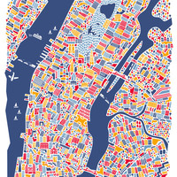 New York City Map Poster Art Print by Vianina