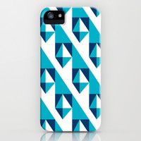 Geometric Pattern 2-Blue iPhone & iPod Case by mollykd