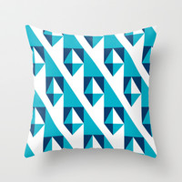 Geometric Pattern 2-Blue Throw Pillow by mollykd