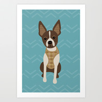 Boston terrier chihuahua mix dog (Bochi) - Green Art Print by mollykd