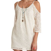 CROCHET COLD SHOULDER SHIFT DRESS