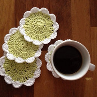 Crochet Coaster Set of 4, coaster, kitchen,green, crochet, round