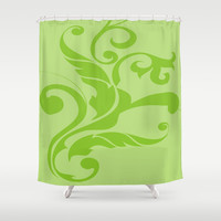 Floral Swirls Green on Green Shower Curtain by EML - CircusValley