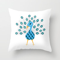 Geometric Peacock Throw Pillow by mollykd
