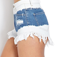 Frayed Bleach Denim Shorts