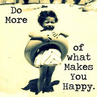Beach Photograph 12x12 B&W child Do More of What Makes You Happy inspirational quote vintage typography print wall decor