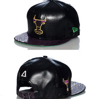 LEATHER LUXE CHICAGO BULLS STRAPBACK CAP - Black - NEW ERA