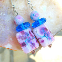 Lampwork Pastel Earrings, Spring Berries, Artisan Spring Fashion Handmade Lampwork Jewelry for Mother's Day...