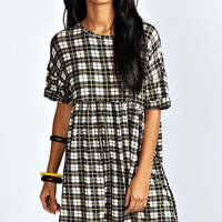 Tori Checked Turn Up Cuff Smock Dress