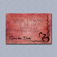 Textured Pink Heart and Wavy Line Save the Date - Digital Download
