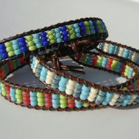 Seed Beaded Leather Bracelet - Choose one