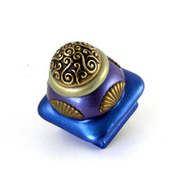 Mini Tudor Knob in Lapis and Periwinkle 1.5 in.