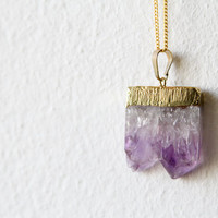 Gold Dipped Raw / Rough Amethyst Pendant Necklace / Gift for Her