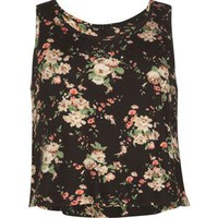 Full Tilt Ditsy Floral Print Girls Swing Tank Black Combo  In Sizes