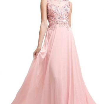 Meier Women's Sleeveless Embroidery Beaded Formal Prom Dress