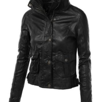 LE3NO Women's Mock Collar Long Sleeve Zip Up Crinkled Biker Jacket