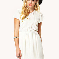 Lace-Paneled Chiffon Dress