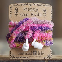 Pink  &  Olive  Fuzzy  Ear  Buds  From  Natural  Life