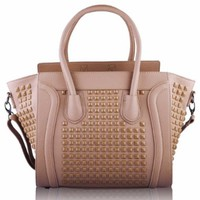 "Beige Grab Studded Ladies Tote Designer Handbag (13"" x 11"") with PreciousBags Dust Bag"