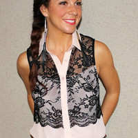 Lace Overlay Sleeveless Blouse