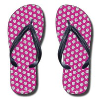 Volleyballs Pattern on Fuchsia Flip Flops