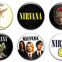 "Set of 6 New Nirvana 1.25"" Pinback Button Badge Pin"