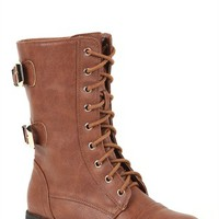 Lace Up Mid Height Combat Boot with Gold Plated Buckles