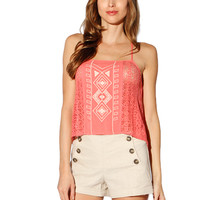 Papaya Clothing Online :: BOHEMIAN CROSS STRING LACY SLEEVELESS TOP