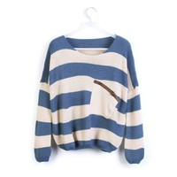 Striped Bat Long Sleeve Loose Sweater