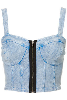 Denim Zip Bralet - Top Rated  - Collections  - Topshop USA