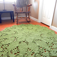Giant Crochet Doily Rug- Moss Green Geometric Petals- Lace- Large area rug- Handmade-Cottage Chic- Oversized- home decor- floor- carpet