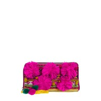 ASOS Zip Around Purse With Bright Pom And Geo-Tribal