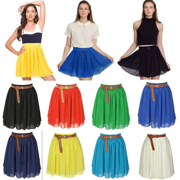 8 Colors Women Girl Chiffon Pleated Retro Elastic Waist Short Mini Dress Skirt