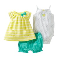 jcpenney - Carter's® 3-pc. Snail Short Set - Girls newborn-24m - jcpenney