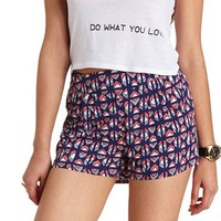 PLEATED GEOMETRIC PRINT HIGH-WAISTED SHORTS