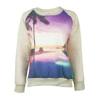 Vacation Beach Resort Photographic Print Fleece Pullover Sweatshirt