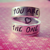 You are the one heart inside spiral aluminum ring