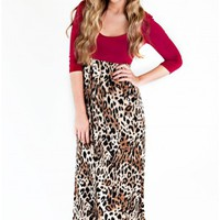 Look Out, World! Leopard Print Maxi Dress-Burgundy