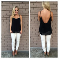 Black Low Back Chiffon Tank