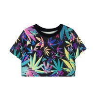Colorful Maple Leaf Crop Tee