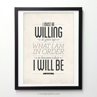 Albert Einstein Inspirational Quote poster - to become what I will be - Retro-style typography print