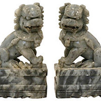 Carved Stone Foo Dogs, Pair