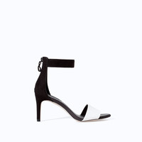 TWO-TONE HIGH HEEL SANDAL WITH ZIP BACK